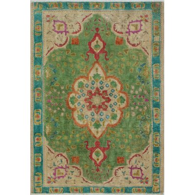 Canola Vintage Distressed Overdyed Hand Knotted Wool Green Area Rug