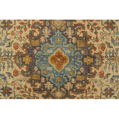 Canonero Vintage Distressed Overdyed Hand Knotted Wool Beige Area Rug