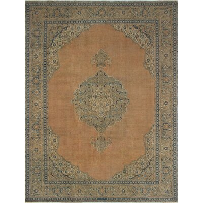 Cushenilt Vintage Distressed Overdyed Hand Knotted Wool Rust Area Rug
