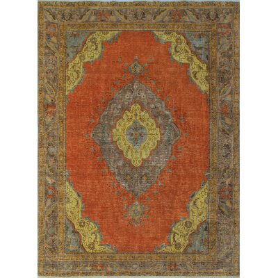 Canyon Lake Vintage Distressed Overdyed Hand Knotted Wool Orange Area Rug