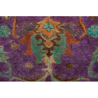 Cape Castle Vintage Distressed Overdyed Hand Knotted Wool Purple Area Rug