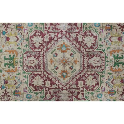 Caprice Vintage Distressed Overdyed Hand Knotted Wool Beige Area Rug