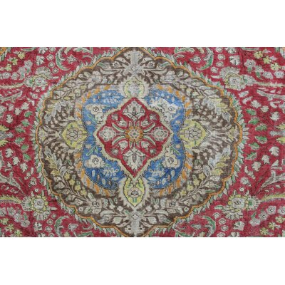 Dagenham Vintage Distressed Overdyed Knotted Wool Red Area Rug