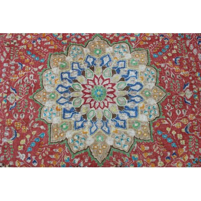 Carovilli Vintage Distressed Overdyed Hand Knotted Wool Red Area Rug