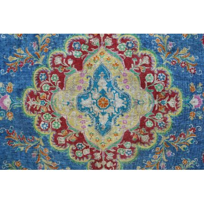 Carriage Vintage Distressed Overdyed Hand Knotted Wool Blue Area Rug