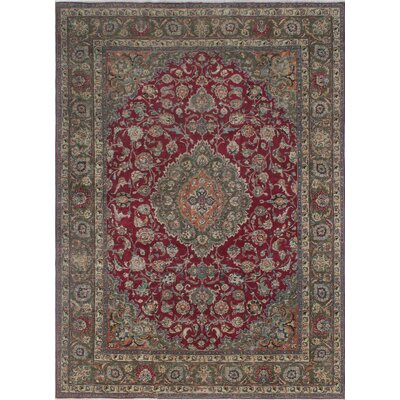 Craster Arms Vintage Distressed Overdyed Hand Knotted Wool Red Area Rug