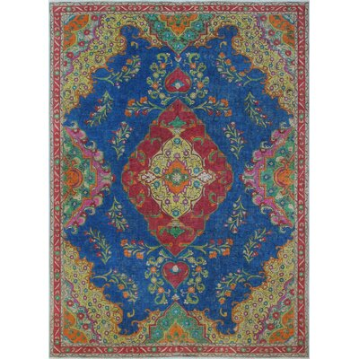 Brittin Vintage Distressed Overdyed Hand Knotted Wool Blue Area Rug