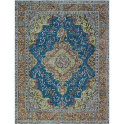 Broadalbin Vintage Distressed Overdyed Hand Knotted Wool Blue Area Rug