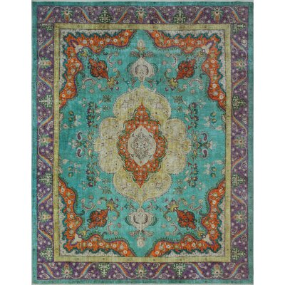 Bunyard Vintage Distressed Overdyed Hand Knotted Wool Blue Area Rug