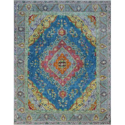 Burdekin Vintage Distressed Overdyed Hand Knotted Wool Blue Area Rug