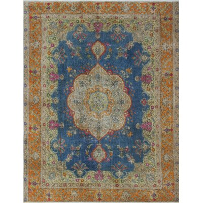 Sanon Vintage Distressed Overdyed Hand Knotted Wool Blue Area Rug