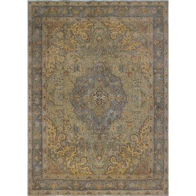Aislin Vintage Distressed Overdyed Hand Knotted Wool Green Area Rug