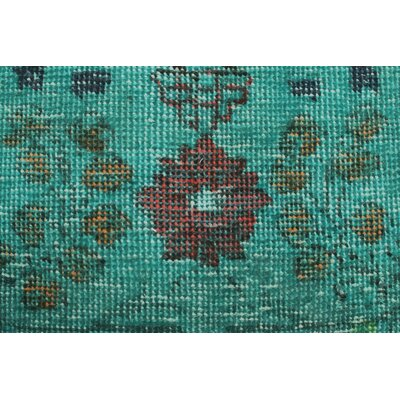 Savarese Vintage Distressed Overdyed Teal Hand Knotted Wool Green Area Rug