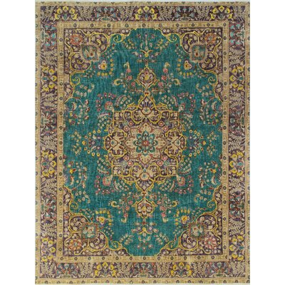 Burnhill Vintage Distressed Overdyed Hand Knotted Wool Green Area Rug