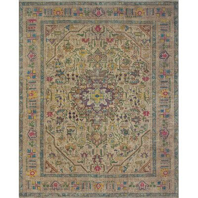 Burrill Vintage Distressed Overdyed Hand Knotted Wool Beige Area Rug