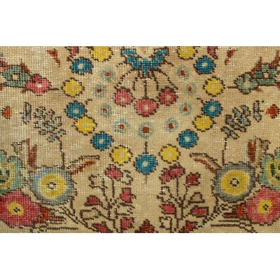 Burrows Bay Vintage Distressed Overdyed Hand Knotted Wool Beige Area Rug