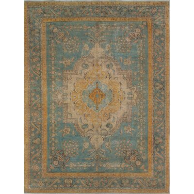 Culver Vintage Distressed Overdyed Hand Knotted Wool Blue Area Rug