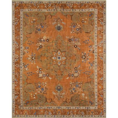 Curley Vintage Distressed Overdyed Hand Knotted Wool Orange Area Rug