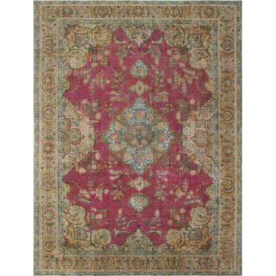Butler Beach Vintage Distressed Overdyed Hand Knotted Wool Magenta Area Rug
