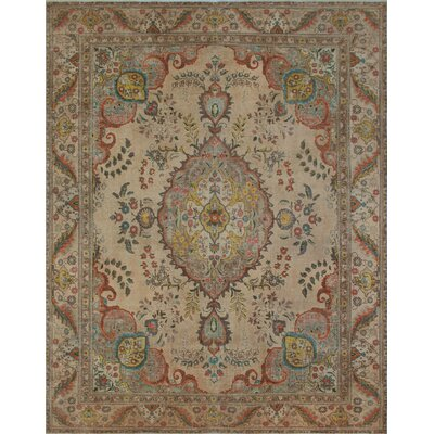 Pilar Vintage Distressed Overdyed Hand Knotted Wool Beige Area Rug