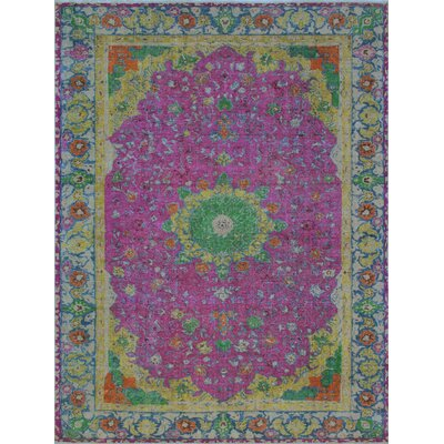 Butlerville Vintage Distressed Overdyed Hand Knotted Wool Purple Area Rug
