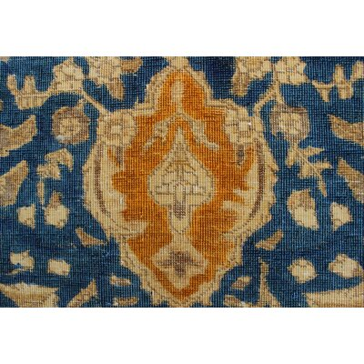Curragh Vintage Distressed Overdyed Hand Knotted Wool Blue Area Rug