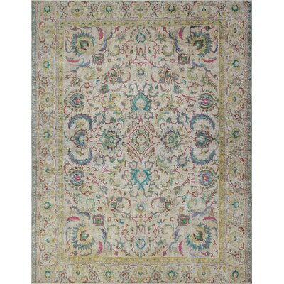 Southmead Vintage Distressed Overdyed Hand Knotted Wool Beige Area Rug