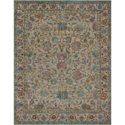 Ahadpour Vintage Distressed Overdyed Hand Knotted Wool Beige Area Rug