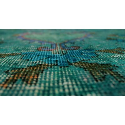 Shatzer Vintage Distressed Overdyed Hand Knotted Wool Green Area Rug