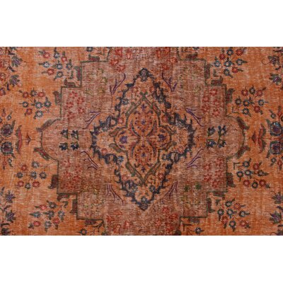 Cache Vintage Distressed Overdyed Hand Knotted Wool Orange Area Rug