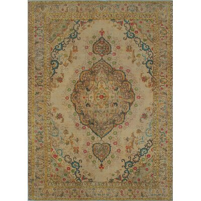 Tierney Vintage Distressed Overdyed Hand Knotted Wool Beige Area Rug