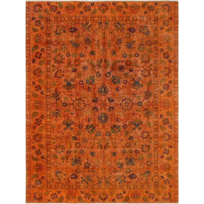 Cadena Vintage Distressed Overdyed Hand Knotted Wool Orange Area Rug