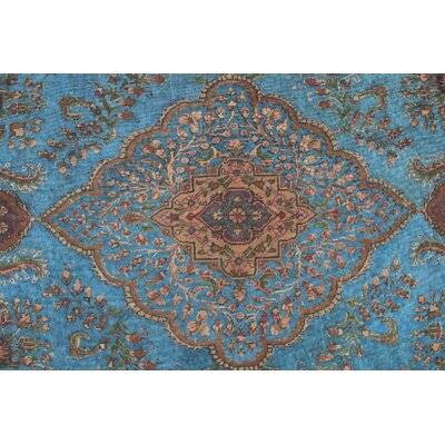 Romy Vintage Distressed Overdyed Hand Knotted Wool Blue Area Rug