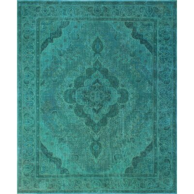 Knipe Vintage Distressed Overdyed Hand Knotted Wool Green Area Rug