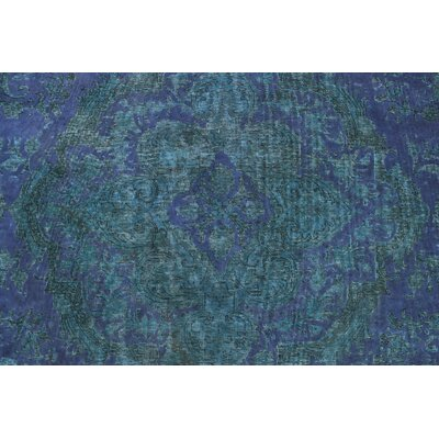 Langdon Vintage Distressed Overdyed Hand Knotted Wool Green Area Rug