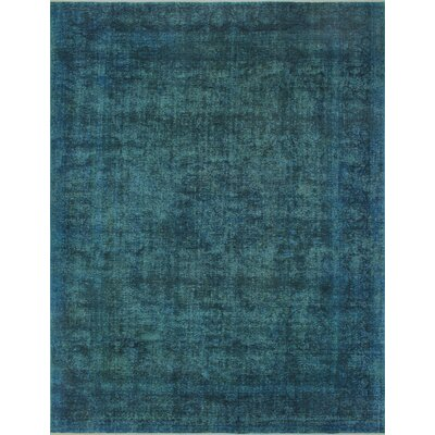 Aslan Vintage Distressed Overdyed Hand Knotted Wool Green Area Rug