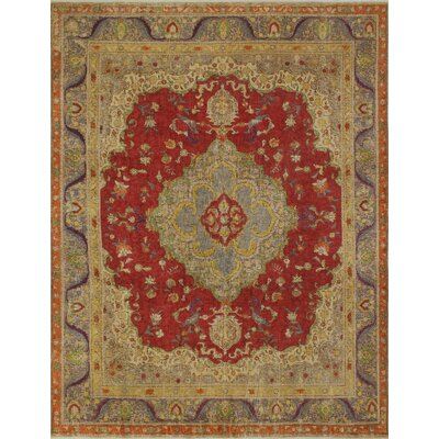 Flannery Vintage Distressed Overdyed Hand Knotted Wool Red Area Rug