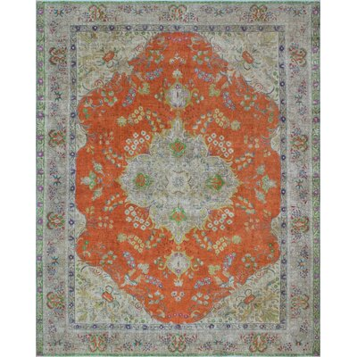Calabasas Vintage Distressed Overdyed Hand Knotted Wool Orange Area Rug