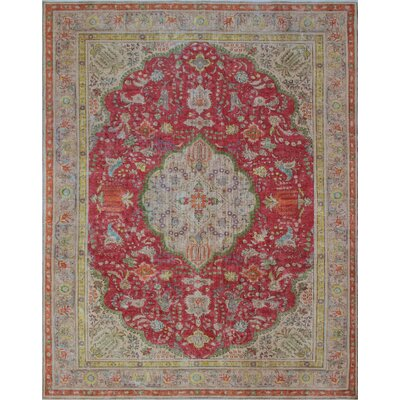 Calabash Vintage Distressed Overdyed Hand Knotted Wool Red Area Rug