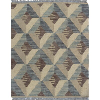 Ackworth Kilim Hand Woven Wool Beige Area Rug