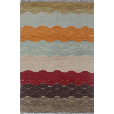 Troy Traditional Kilim Hand Woven Wool Brown Area Rug Rug Size: Rectangle 61 x 94