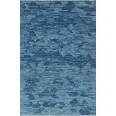 Ackworth Kilim Hand Woven 100% Wool Blue Area Rug Rug Size: Rectangle 64 x 94