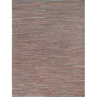 Ackworth Kilim Hand Woven Wool Red Area Rug