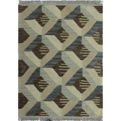Ackworth Traditional Kilim Hand Woven 100% Wool Gray Area Rug Rug Size: Rectangle 19 x 24