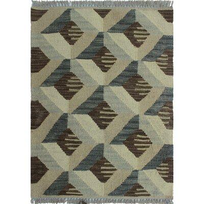 Ackworth Traditional Kilim Hand Woven 100% Wool Gray Area Rug Rug Size: Rectangle 19 x 24
