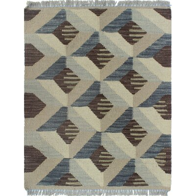 Ackworth Traditional Kilim Hand Woven 100% Wool Gray Area Rug Rug Size: Rectangle 19 x 22