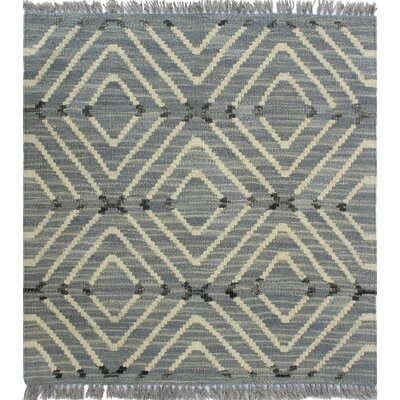 Ackworth Kilim Hand Woven Wool Gray Fringe Area Rug