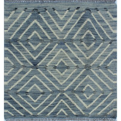Ackworth Kilim Hand Woven Wool Gray Geometric Area Rug Rug Size: Square 111 x 111