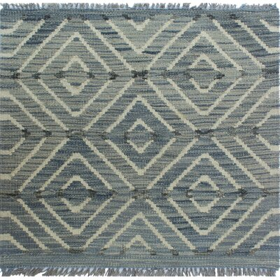 Ackworth Kilim Hand Woven Wool Gray Geometric Area Rug Rug Size: Rectangle 111 x 110