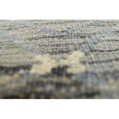 Ackworth Kilim Hand Woven 100% Wool Gray Fringe Area Rug